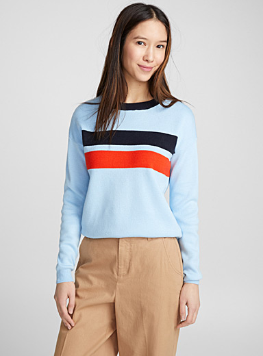 Contrast band sweater