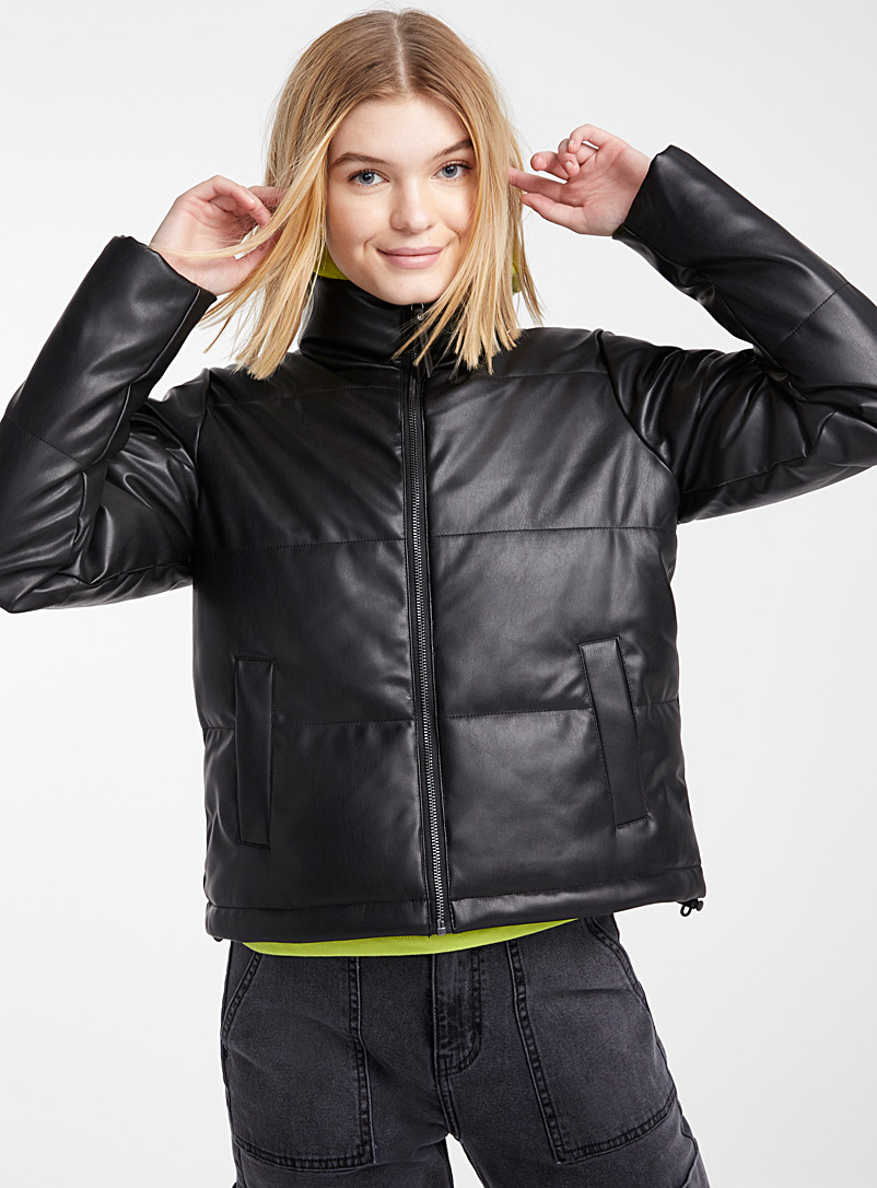 Noisy May Black Cropped faux-leather puffer jacket for women