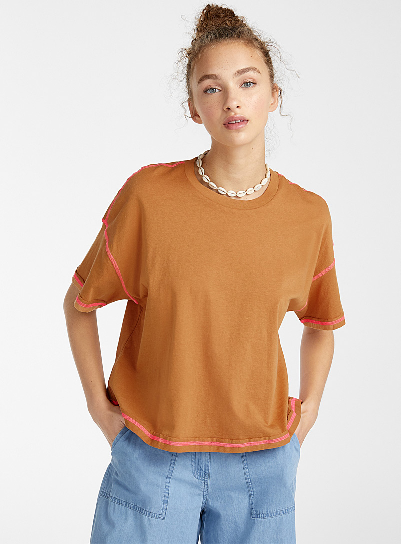 Noisy May Brown Neon seam tee for women