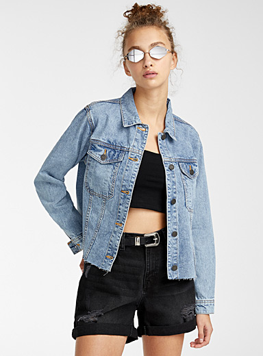 Noisy May Slate Blue Scissor-cut jean jacket for women