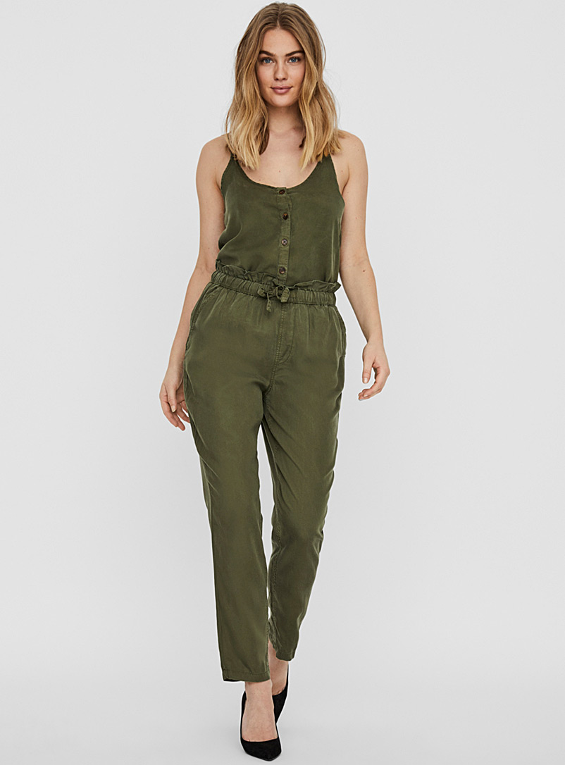 Noisy May Khaki TENCEL lyocell paper bag joggers for women