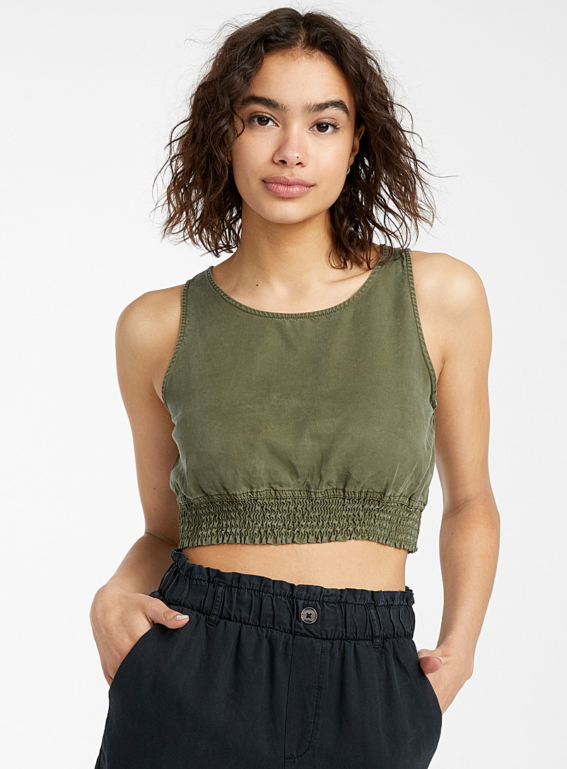 Noisy May Mossy Green Smocked bubble cami for women