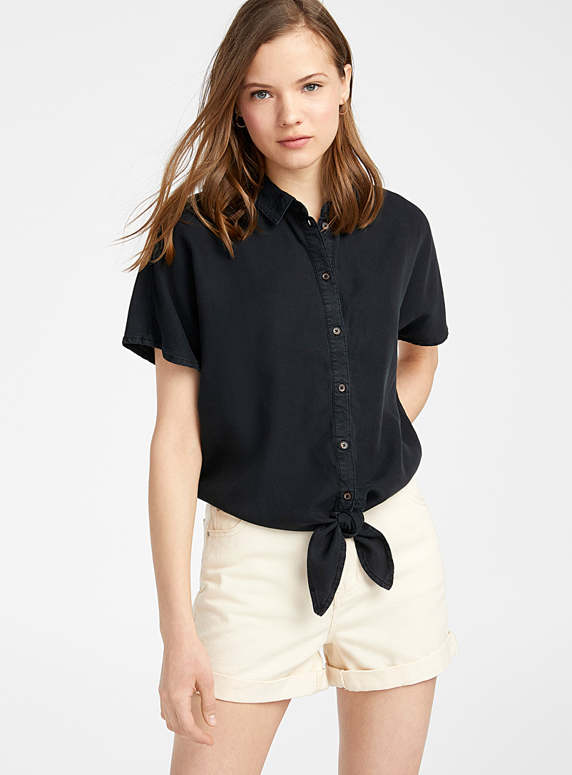 Noisy May Black Accent knot shirt for women