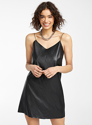 Noisy May Black Faux-leather slip dress for women