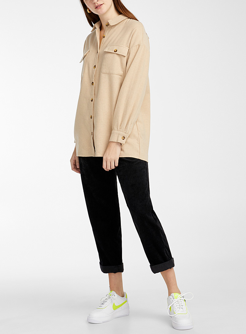 Noisy May Ivory White Recycled polyester overshirt for women