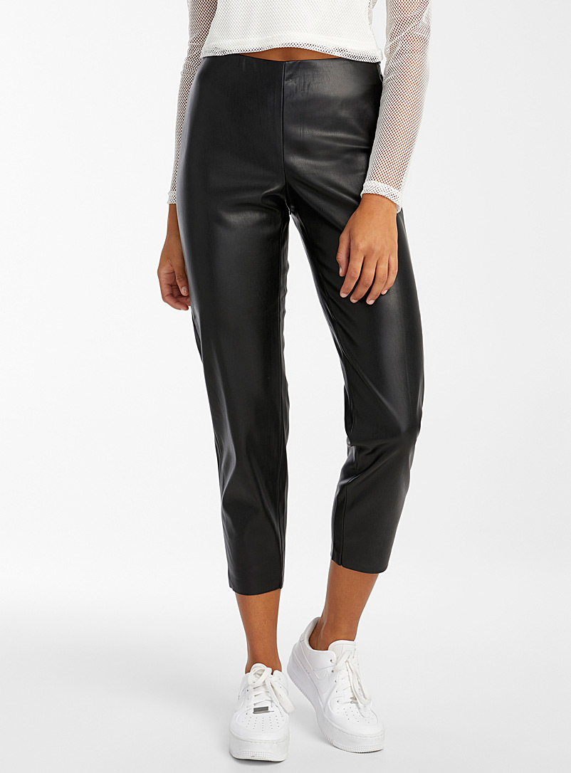 Noisy May Black Side zip faux-leather legging for women