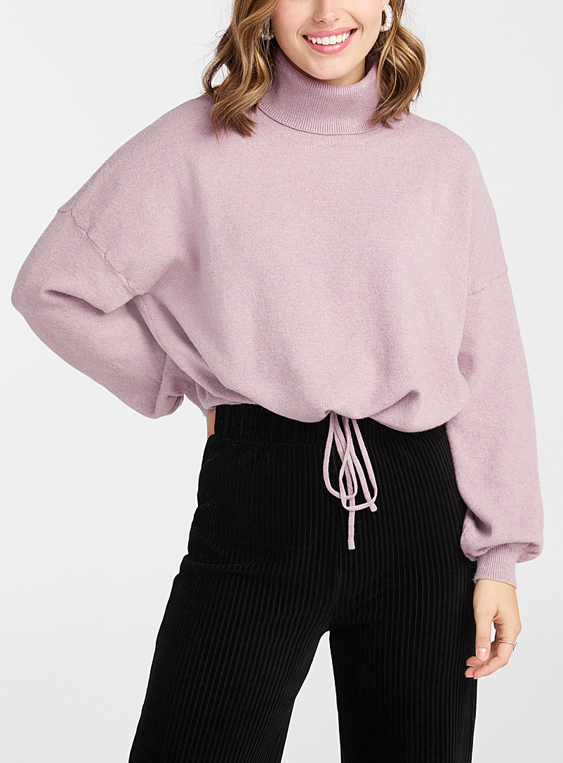 Twik Dusky Pink Adjustable waist turtleneck for women