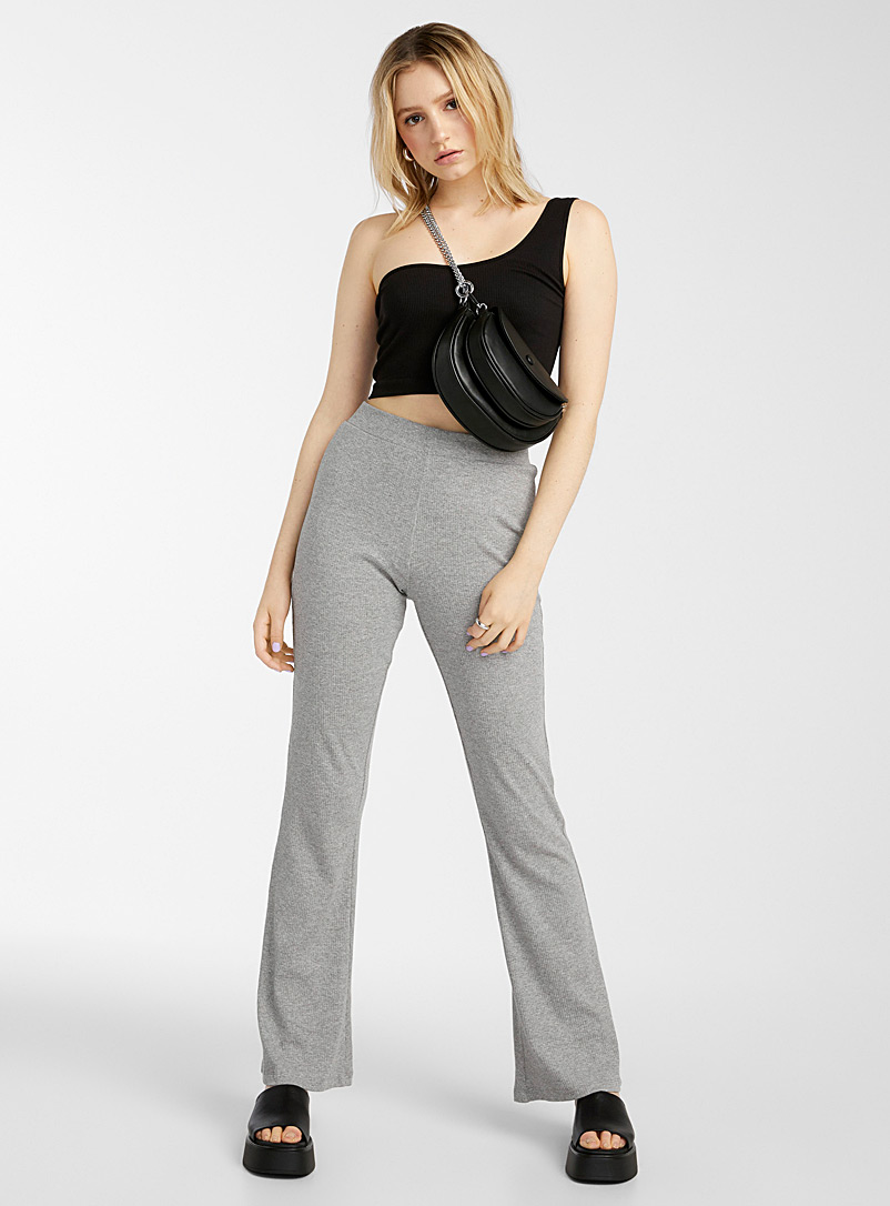 Noisy May Grey Finely ribbed flared pant for women