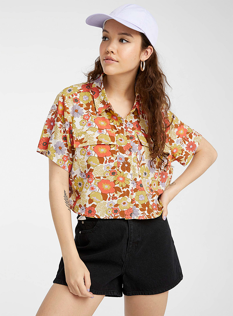 Noisy May Patterned Yellow Retro flower shirt for women