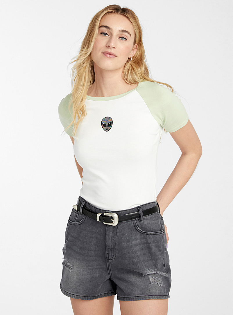 Noisy May Oxford Distressed faded black mom short for women