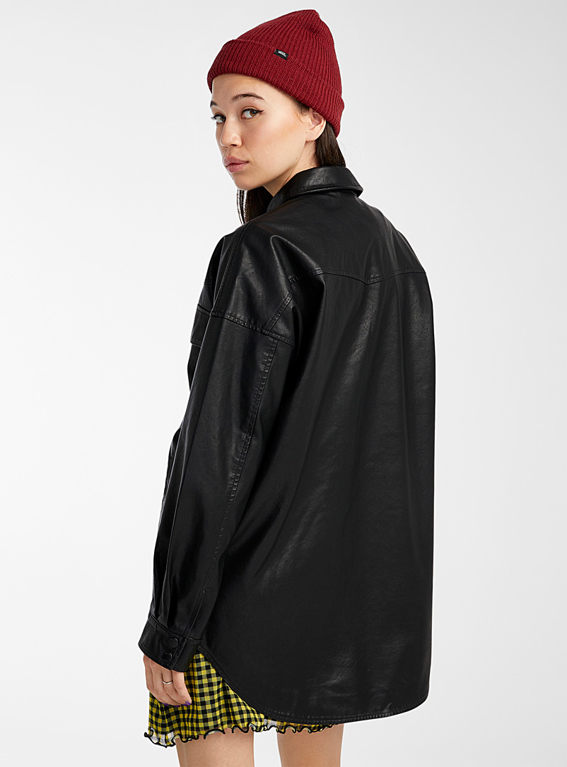 Noisy May Black Loose faux-leather jacket for women