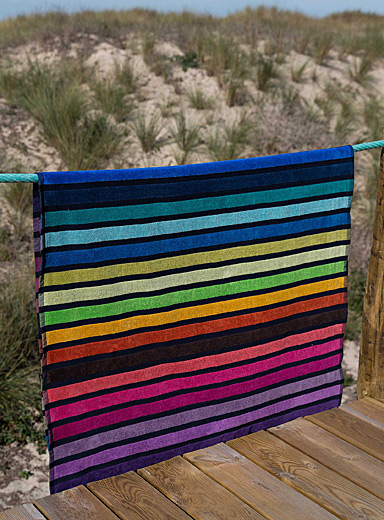 Rainbow stripe beach towel  100 x 180 cm