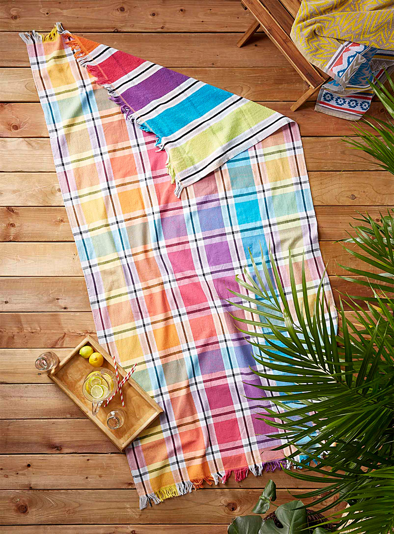 Simons Maison Assorted Tropical check beach towel  90 x 180?cm