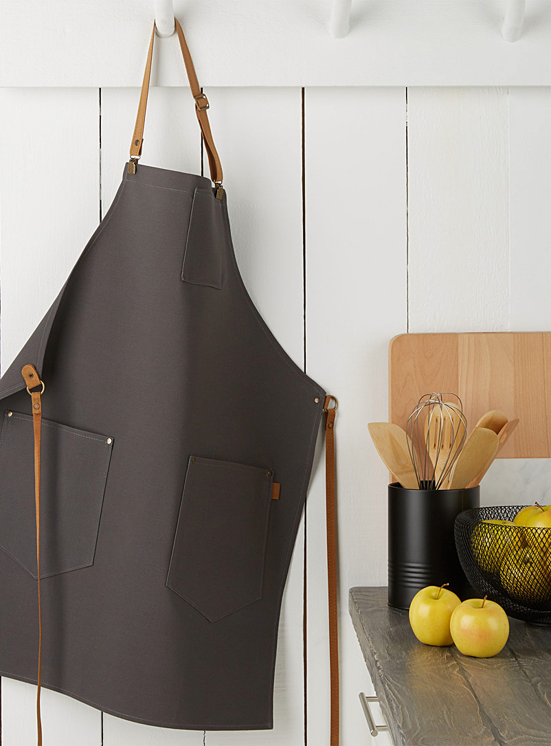 Maison Milan Grey Charcoal canvas apron