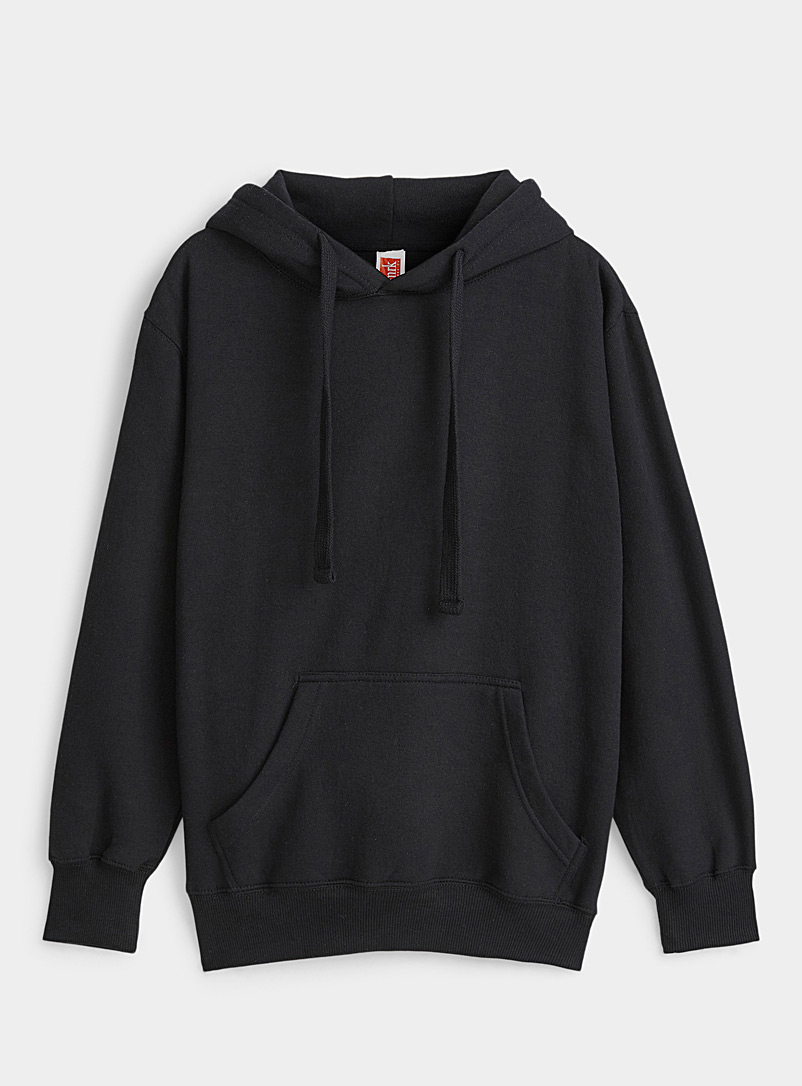 Twik Black Solid basic hoodie for women