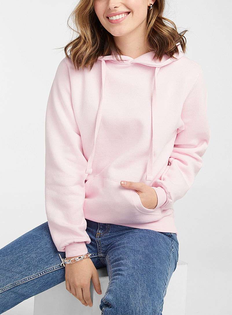 Twik Dusky Pink Solid basic hoodie for women