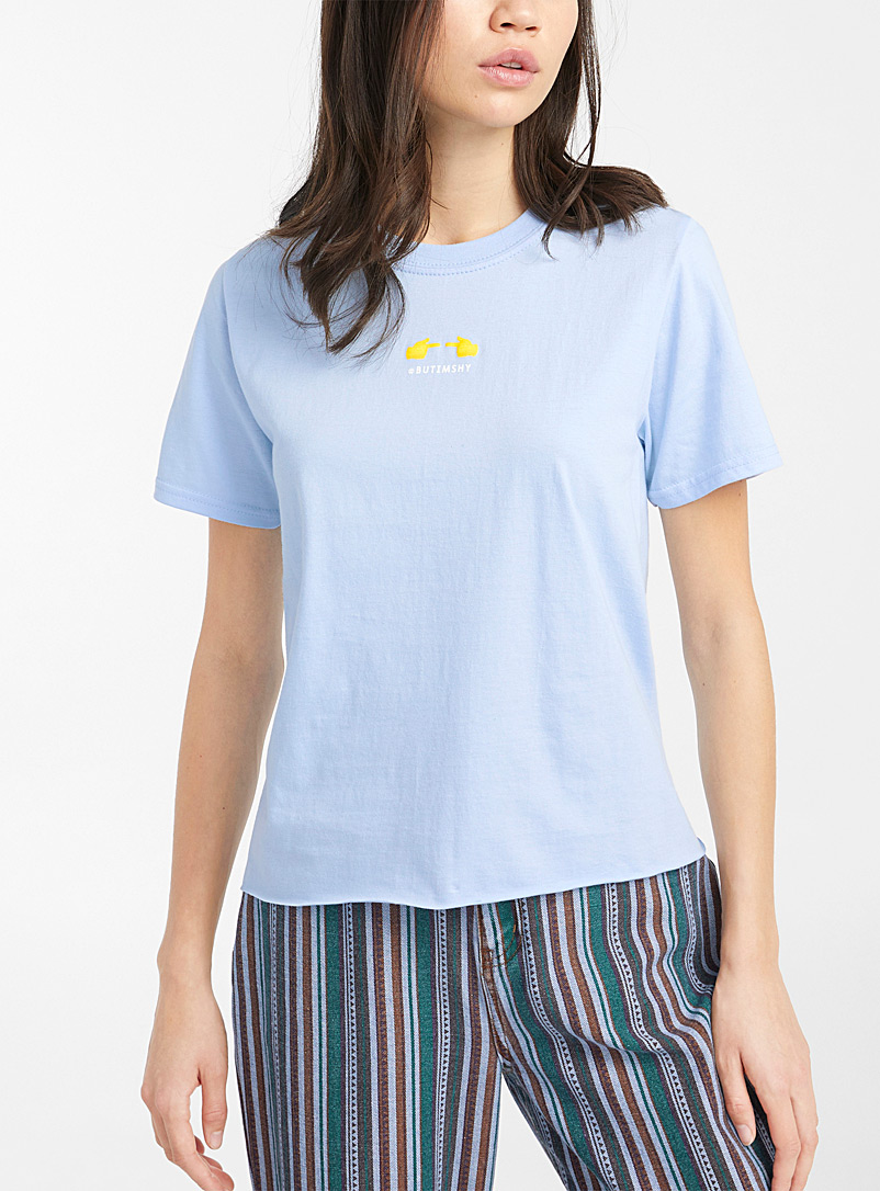 Twik Ivory White Raw-hem printed T-shirt for women