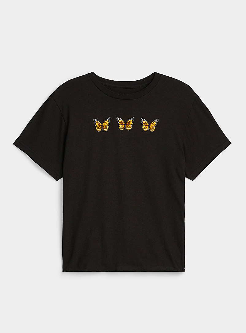 Twik Patterned Black Raw-hem printed T-shirt for women