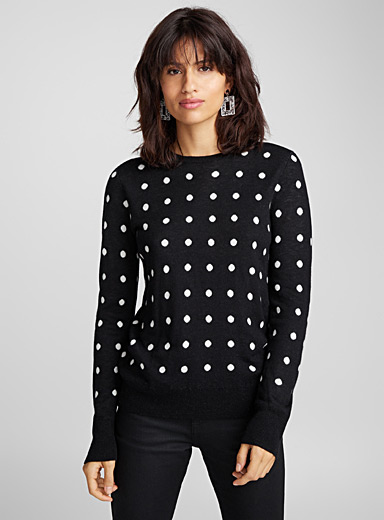 Le pull pois contraste