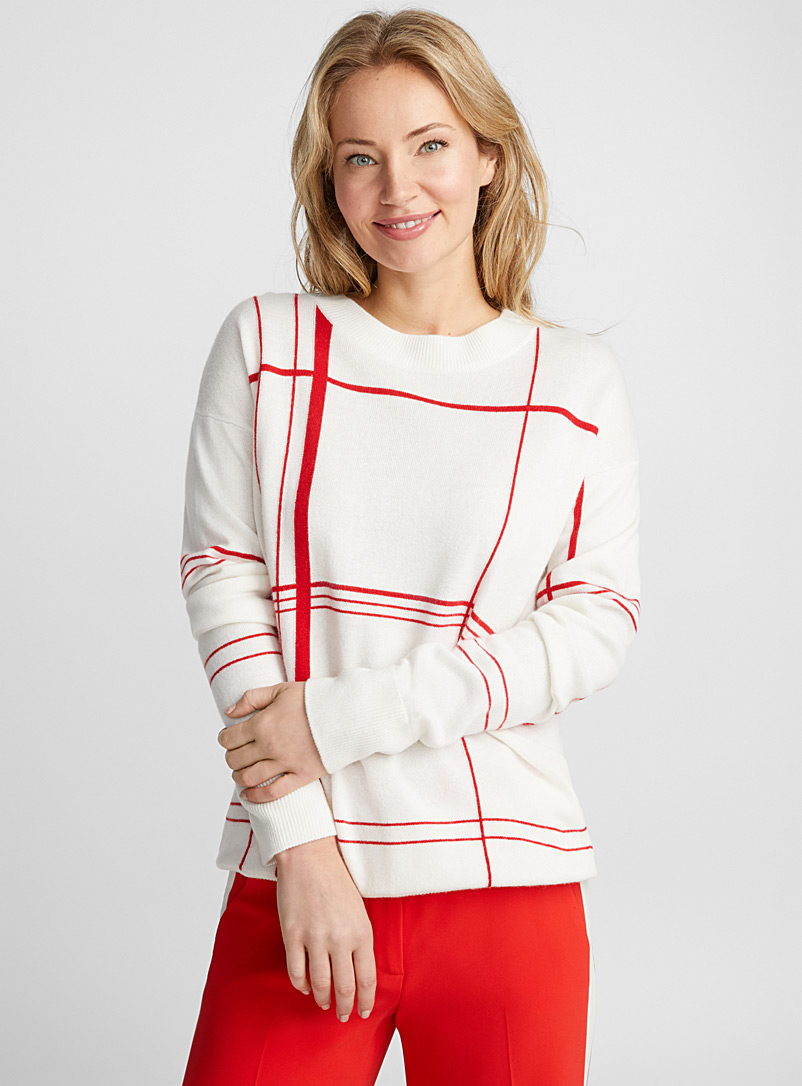 Malin red check sweater - Sweaters - Ivory White