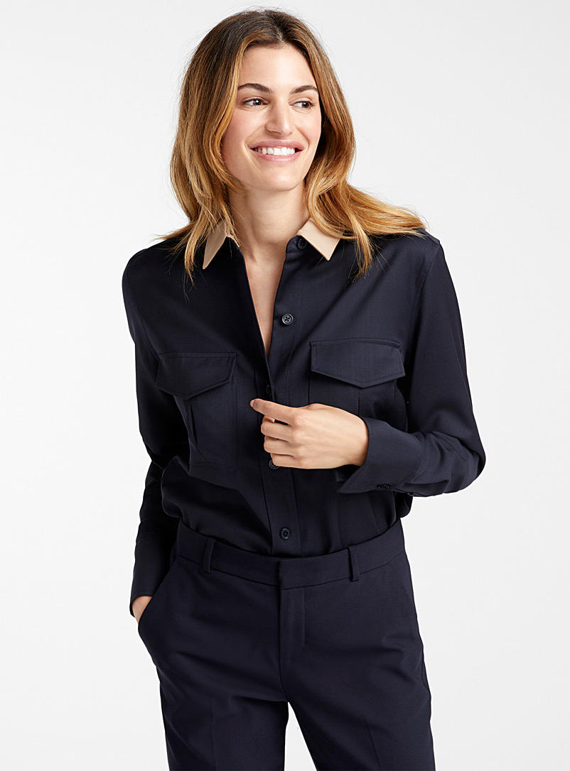 Garcella contrast-collar wool blouse - Shirts - Black
