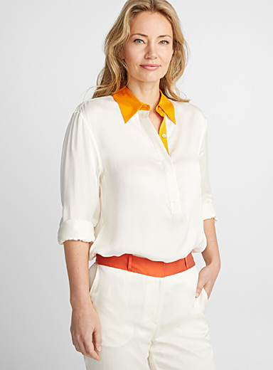 La blouse satin col accent