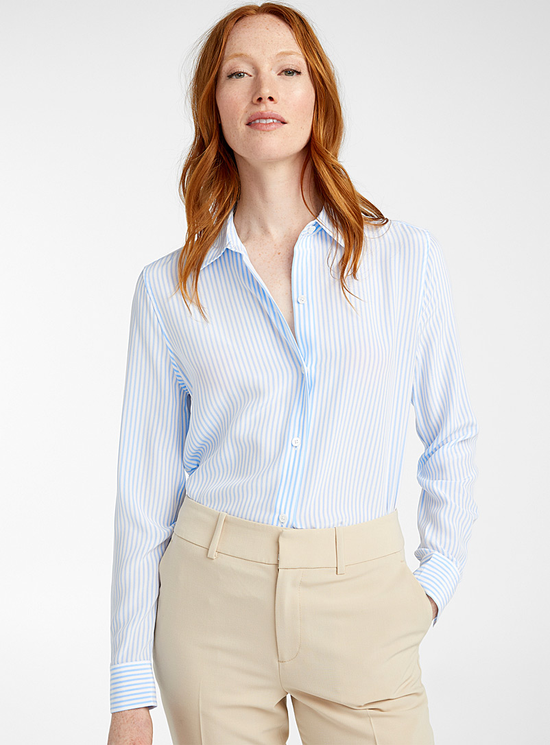 Equipment Patterned White Finely striped silk shirt for women