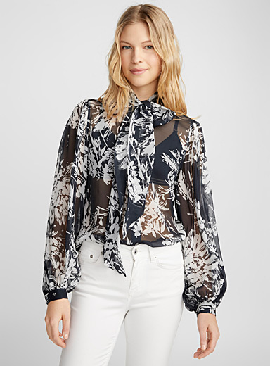 Cleone sheer flower blouse