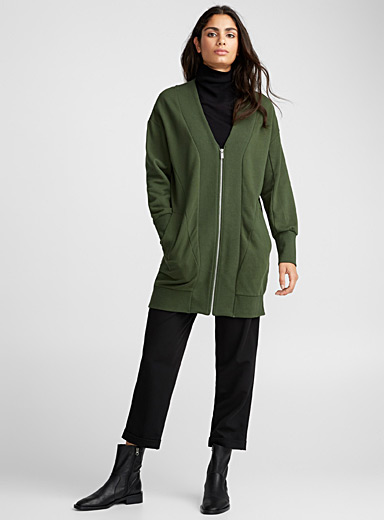 Le long cardigan sweat zippé