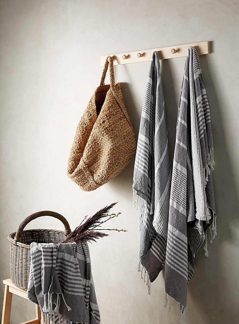 Traditional fouta  97 x 175 cm - Bath Sheets & Beach Towels - Grey