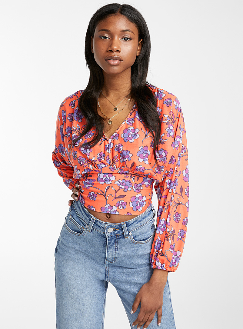 Ic?ne Patterned Orange Corset-style floral tee for women