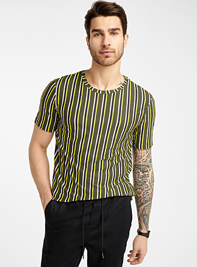 Multi-stripe fluid T-shirt