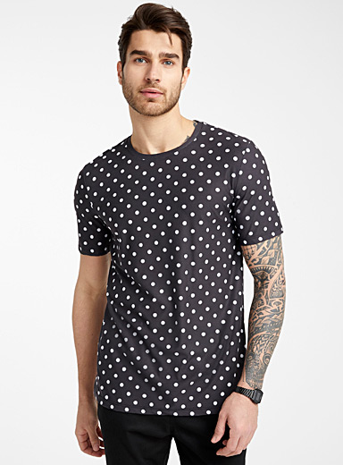 Le 31 Black Dotted fluid T-shirt for men