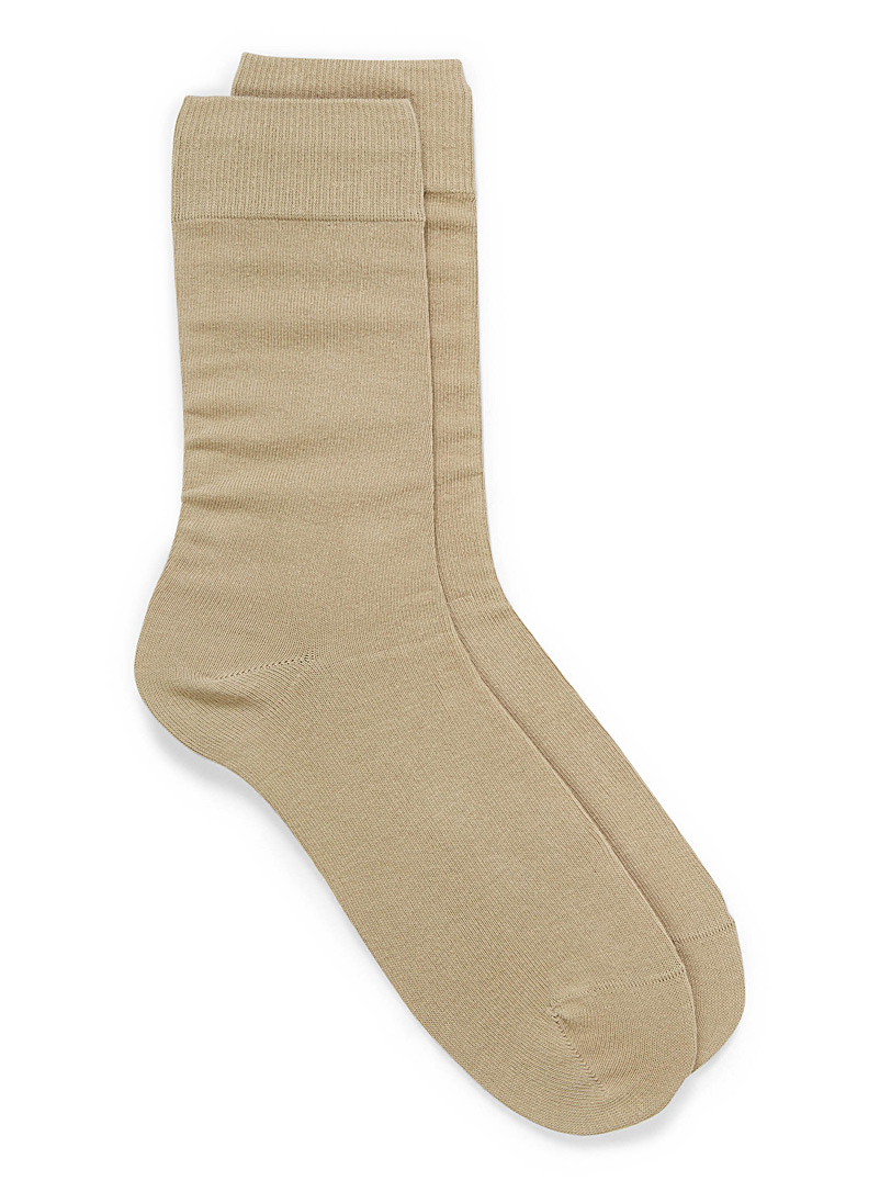 Cotton jersey socks - Casual socks - Cream Beige