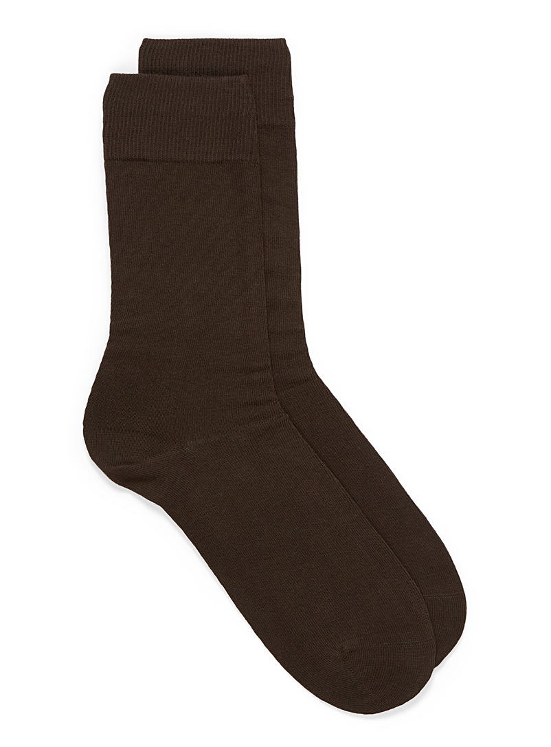 Cotton jersey socks - Casual socks - Brown