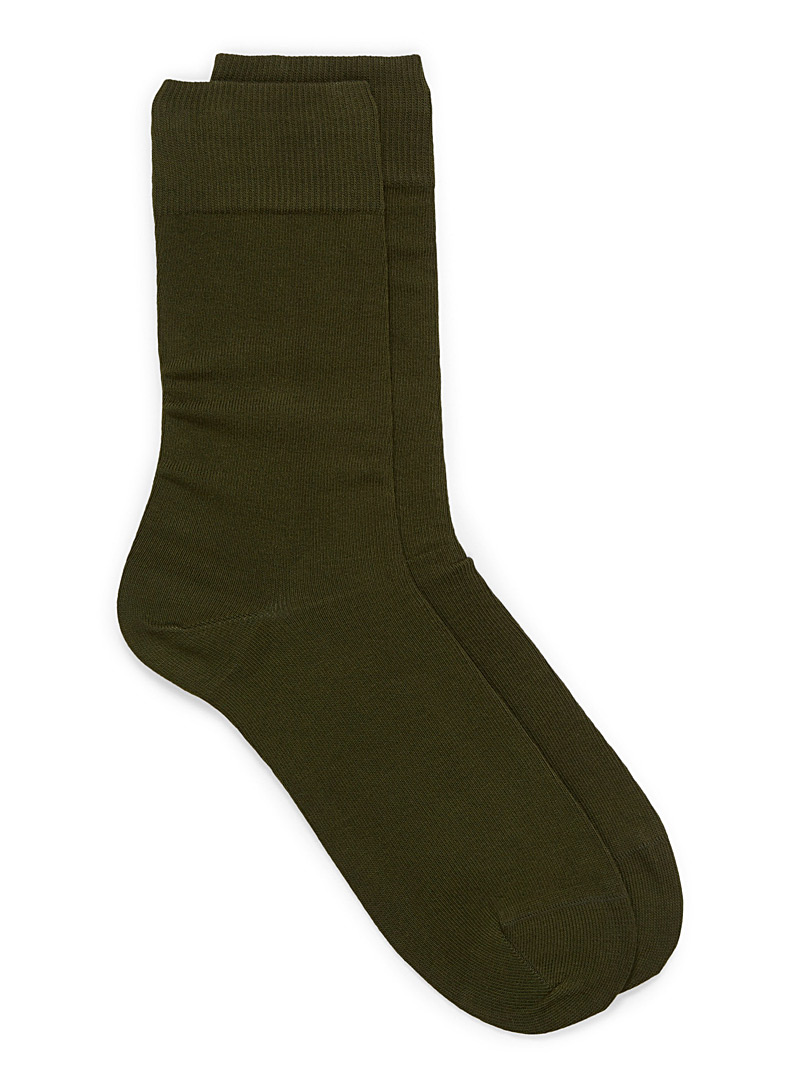 Cotton jersey socks - Casual socks - Khaki