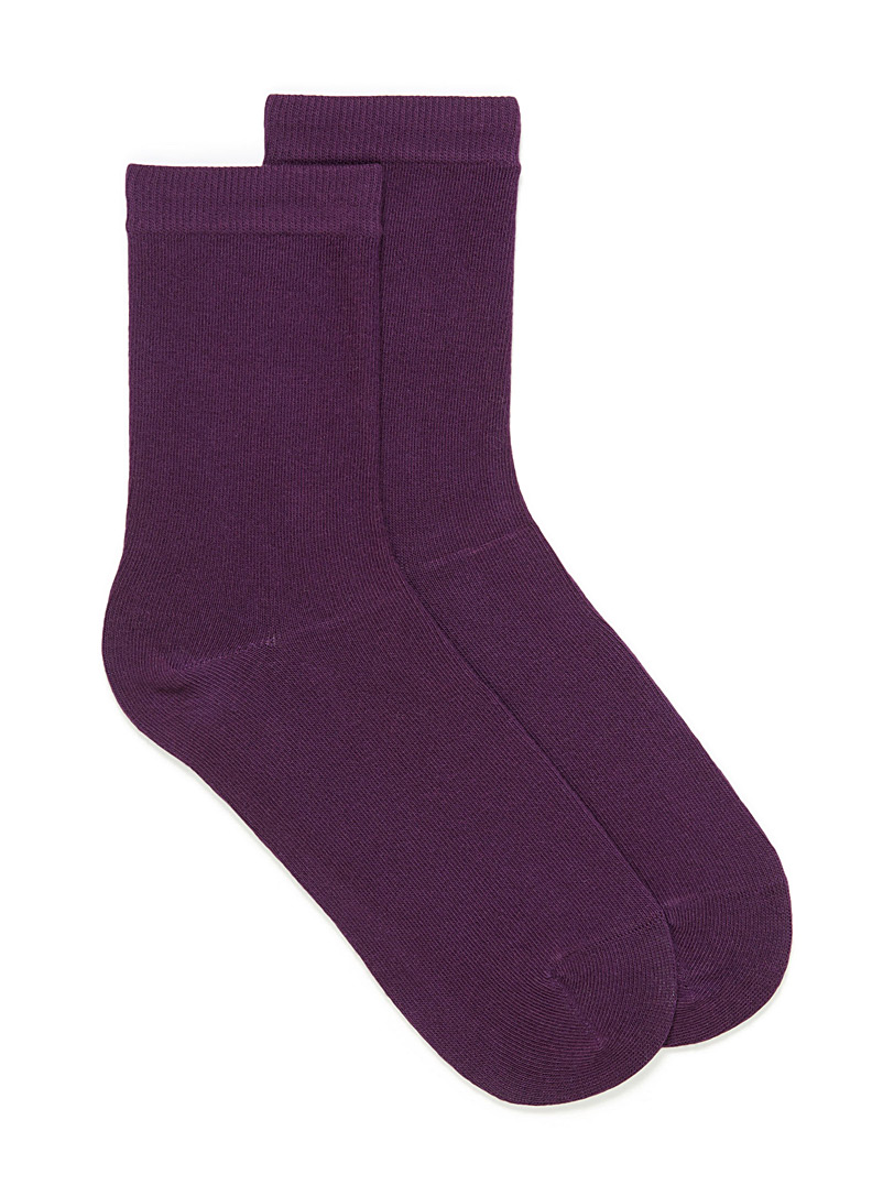 Simons Crimson Solid basic socks for women