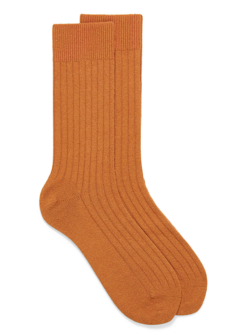 Le 31 Amber Bronze Cashmere ribbed socks for men