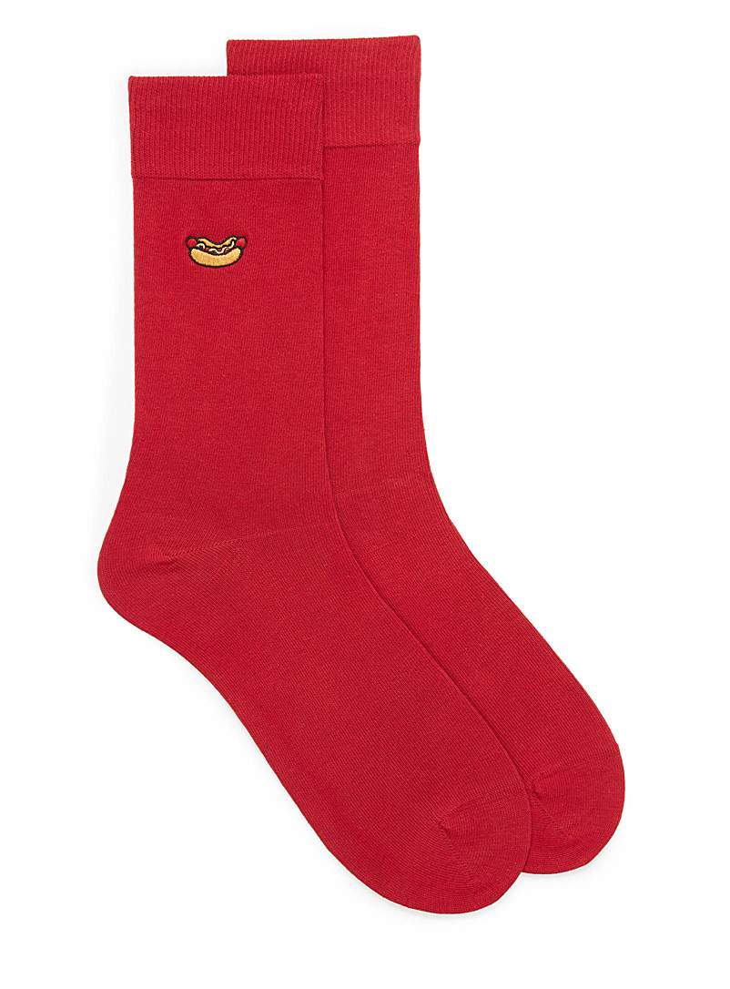 Patch dress socks - Dressy socks - Cherry Red