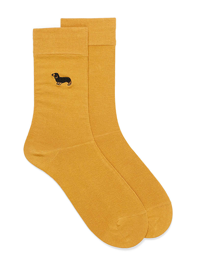 Le 31 Medium Yellow Embroidered symbol dress socks for men