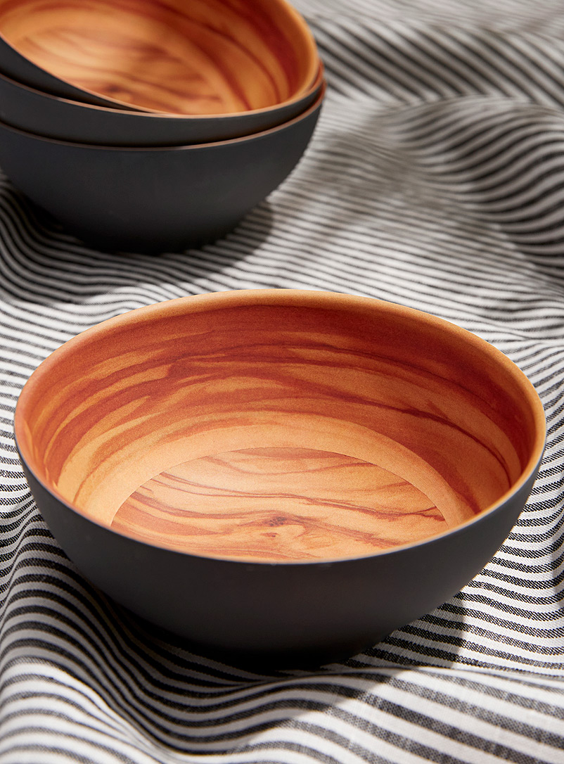 Simons Maison Assorted Bowls with wood-like interior Set of 4
