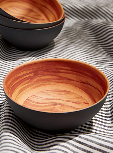 Bowls with wood-like interior Set of 4