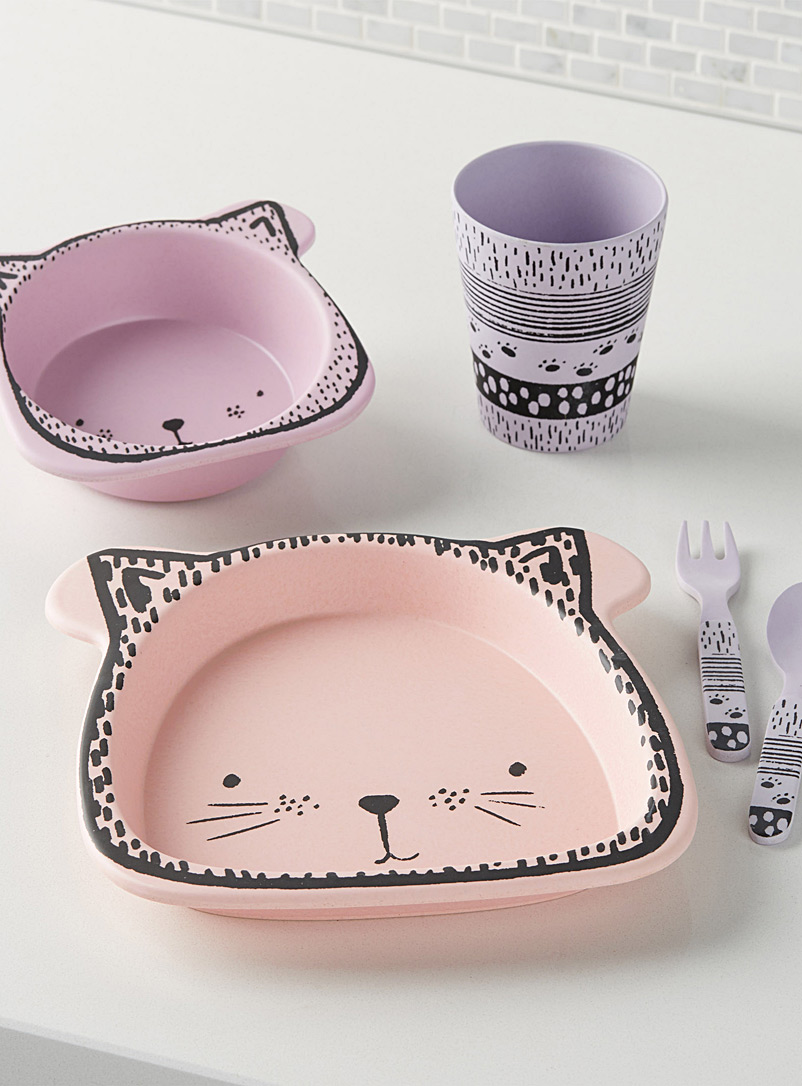 pink-cat-bamboo-tableware-br-five-piece-set
