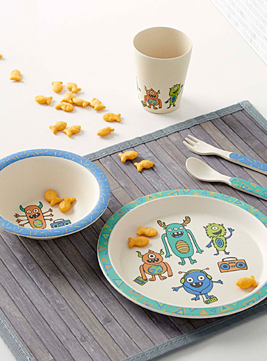 Funny monster bamboo tableware  Five-piece set