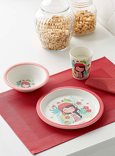 Simons Maison Assorted Pirate girl bamboo tableware  Three-piece set