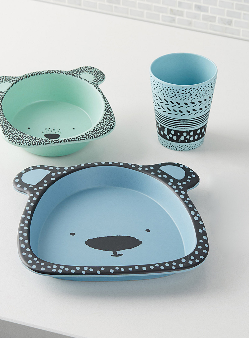 Blue bear children tableware  Three-piece set