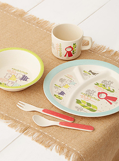 Illustrated story bamboo tableware  Five-piece set