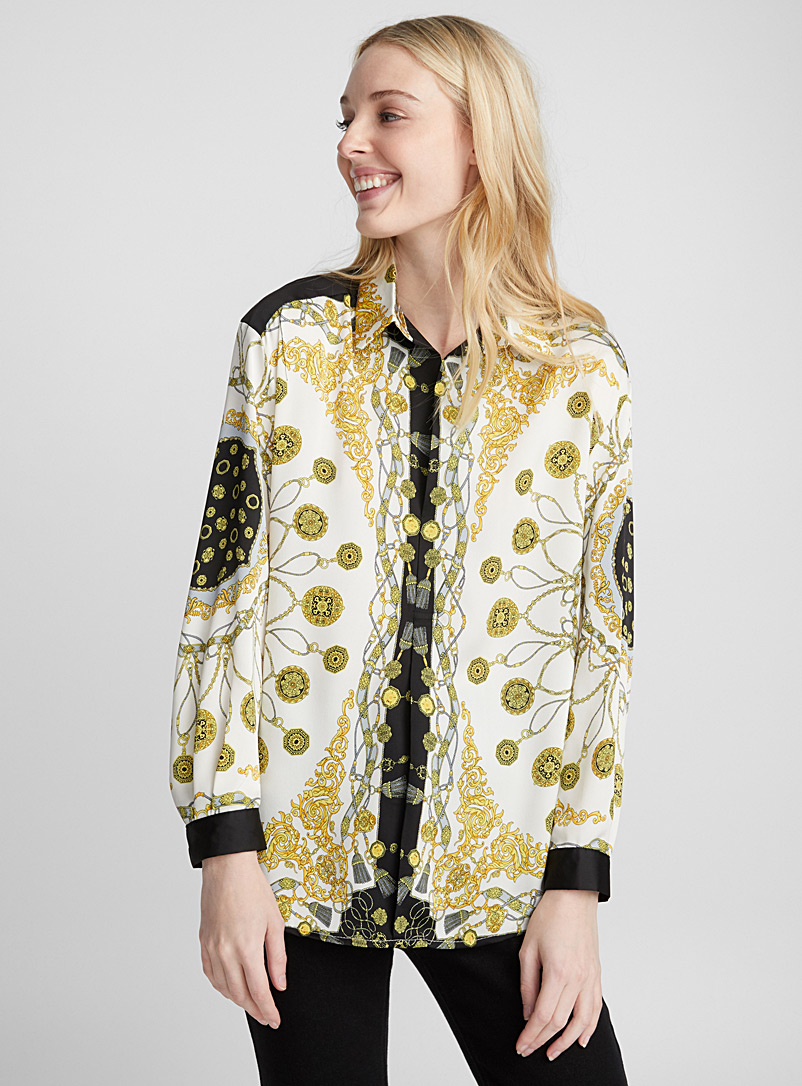 Precious medallion blouse - Shirts - Black and White