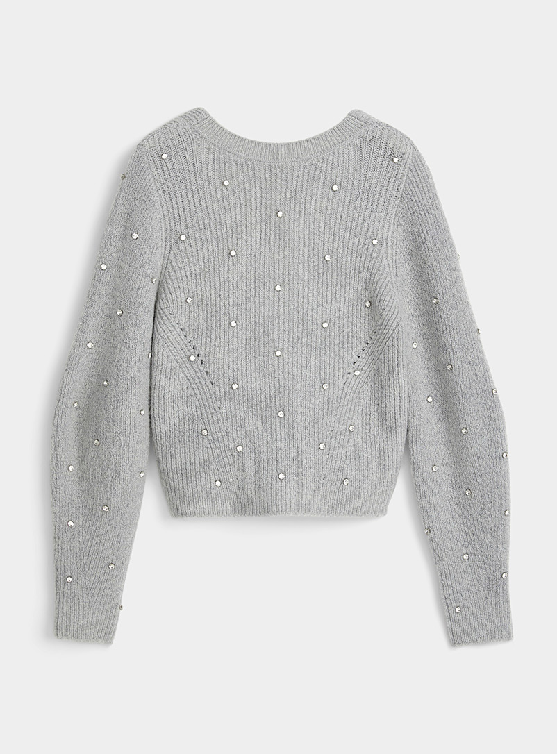 Self-Portrait Grey Plunging back diamond sweater for women