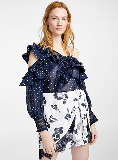 Plumetis frilled top